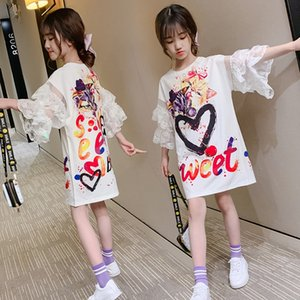 Girls short sleeve 2020 new style leisure Lace dress girl lace sleeve letter printed t-shirt dress fashion
