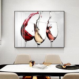 Wine Glass Oil Painting on Canvas Nordic Restaurant Cafe Decorative Art Poster Prints Modern Wall Pictures for Dining Room Home Decor