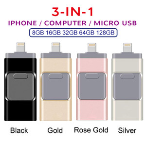 3IN1 OTG USB فلاش حملة للحصول على جهاز الكمبيوتر المحمول الروبوت ذاكرة 3.0 عالي السرعة 64GB 32GB 128GB