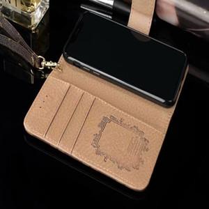 مصمم أزياء محفظة الهاتف الحال بالنسبة ل 11 برو ماكس XS XR X 8 7Plus فليب جلد الهاتف المحمول شل غطاء لسامسونج S10 S20 ملاحظة 10 9