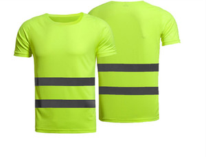 Reflective T-shirt Construction Site Engineering Building Fluorescent Short Sleeve T Cycling Outdoor Safety tshirt Clothes Can Be Printed