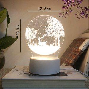 3D Night LED Light Lamp 3D Illusion Lamp transparent acrylic creative illusion owl kids 3d desk lamp night light