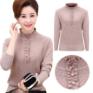 Middle-aged Womens Pullovers Autumn Winter Mother Clothing Cashmere Sweater Turtleneck Knitted Bottoming Shirt Plus size W152