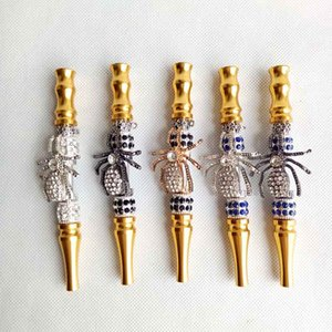 Handmade metal Hookah Mouthpiece Mouth Tips Pendant Arab Shisha Animal Skull Shaped Filter Inlaid Jewelry Diamond Smoking pipe Tool LJJA4200