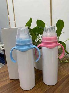 텀블러 더블 핸들은 A03 병 8온스 승화 아이 텀블러 스테인레스 스틸 먹이 텀블러시피 컵 우유 병 절연 진공
