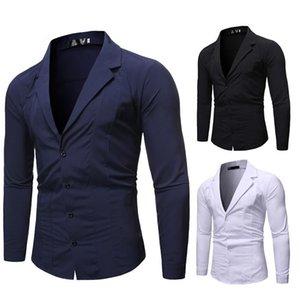Mens Business Casual Shirts Slim Fit Solid Long Sleeve Shirts Fashion Tops Male Dress Shirts Blazers
