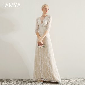 LAMYA Women Elegant Lace Long A Line Evening Dress Half Sleeve Prom Party Dresses Plus Size Backless Evening Gown Robe De Soiree Y190710