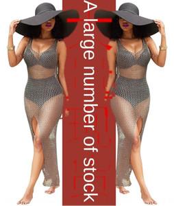 2020 standard size swimsuit bikini gray hollow blouse long skirt hip-covered cashew nut bikini swimsuit coat