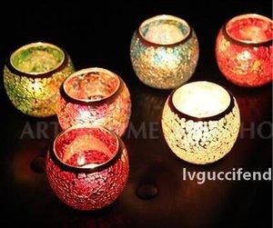 Titulares Moda Rodada vela romântica Modern Glass Mosaic Candler Feito à Mão colorida Candlestick New Arrival 7 2zb B