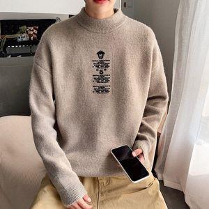 2019 UYUK nuevo estilo suéter versión coreana ocasionales flojas temperamento tendencia cuello alto suéter de los hombres Impreso Homme qeva #
