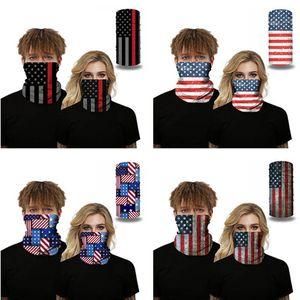 Máscaras Scarf Crânio América Bandeira Nacional ao ar livre sem emenda Face Magic Scarf Ciclismo Equitação Aqueça Lenço DWB406