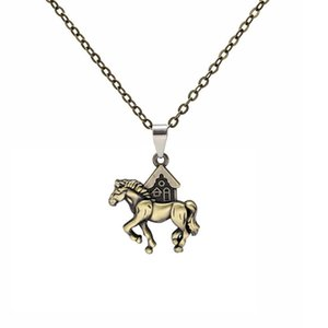 Fashion Alloy Animal Pony Pendant Necklaces Lucky Horse Charm Necklace Women Men Clavicle Chain Choker Jewelry Statement Gifts