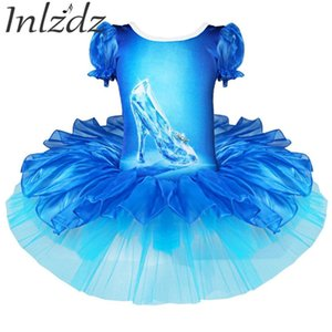 Inlzdz Kids Girls Professional Ballet Tutu Dress Blue Shoes Printed Short Bubble Sleeves Ballet Dance Gymnastics Leotard Dress 0klc#