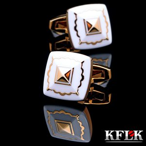KFLK jewelry Fashion French shirt cufflink for mens Brand Cuff link Button High Quality Gold-color Wedding Groom Free Shipping