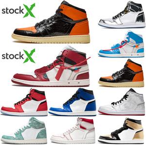2020 Nuovo Jumpman 1 1s Satin Black Toe non destinata alla vendita donne degli uomini di pallacanestro Scarpe a punta Bred Obsidian UNC Nero Bianco Mens Sport Sneakers