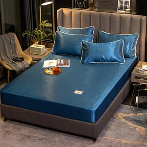 çarşaf ev yatak seti yatak Protector saten yaz Buz ipek elastik Gömme Sac Lüks yaprak yastık kılıfı yatak yatak örtüsü