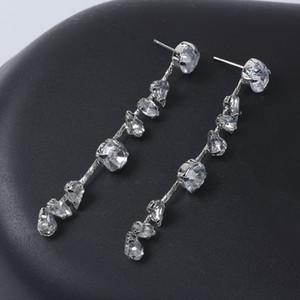 빛나는 실버 라인 석 귀걸이 신부 보석 다이아몬드 웨딩 귀걸이 투명 크리스탈 드롭 귀걸이 저녁 파티 보석 여성 댄스 파티 선물