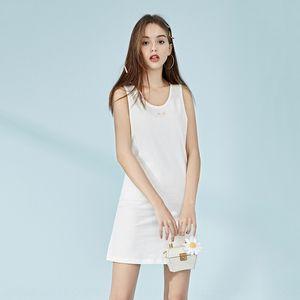 OM 2020 new white small flower printed dress women 11KH926521 OM 2020 new white small flower printed dress Vest vest women 11KH926521
