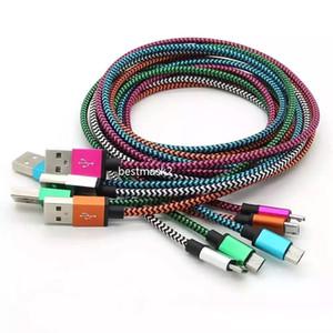 cabos de telefone celular Tecido Nylon Braid Micro Type-c USB Connector Cable n metal cabo do carregador para Samsung Android Phone