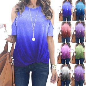 Color Women Tshirts Summer Dew Shoulder Sleeve O-neck Loose Ladies Tops Casual Designer Woman Tees Gradient