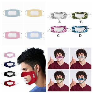 Sağır-dilsiz Şeffaf Yüz Maskesi Kamuflaj Yıkanabilir Yeniden kullanılabilir Maskeler Anti Toz Antifog earloop Temizle Tasarımcı Maske RRA3298 12styles