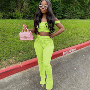 2020 Off Shoulder Summer Two Piece Set Women Festival Clothing Crop Top and Stacked Leggings Set Sexy 2 Piece Club Outfits