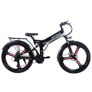 Zpao 26 polegadas bicicleta dobrável eléctrico, bateria de lítio 48V 10.4Ah, 350W montanha E bicicleta, 5 graus Vork suspensão trampolim