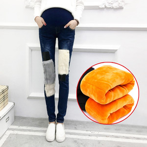 Hamile Kadın Kış Artı Kadife Kalın Sıcak Sıska Patchwork Kalem Denim Pantolon Hamile Kürk Kot Pantolon Campure