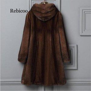 New middle-aged fur coat autumn winter large size women hooded elegant high-end imitation faux fur coat winter warm jacket