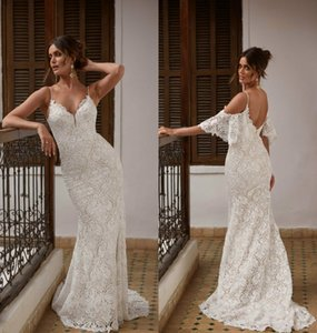 2021 New Wedding Dresses Spaghetti Straps Lace Appliques Mermaid Bridal Gowns Custom Made Backless Sweep Train vestidos de novia
