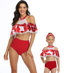 Mayo Kadınlar Bikini Moda Kız Seksi Mayo Yıkanma Yüzme Suit Çocuk Ebeveyn-çocuk fırfır Plaj Mayoları