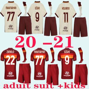 Kit para adultos 2020 2021 Roma casa DZEKO maillot DE ROSSI distancia camiseta blanca de los hombres azul tercer PASTORE Niños camiseta de Roma adulto kit KIDS + calcetines de hombre
