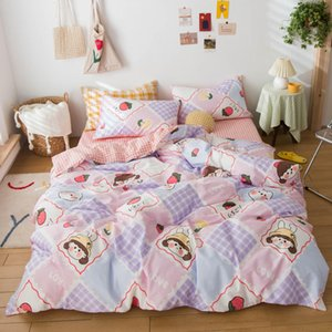 Bed Linen Cotton for Girls Single Size Cartoon Bedding Sets for Kids Pink Color 100%Cotton Bedclothes