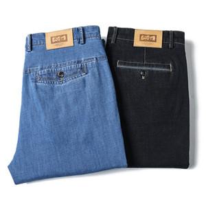 ICPANS altos pantalones vaqueros de cintura para hombres Negro Azul Tencel finos de verano Denim Jeans Hombres Straigth Stretch para hombre de las bragas de 2020