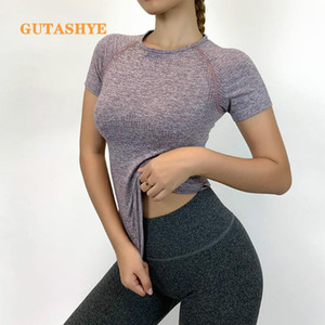 GUTASHYE Fitness Women Seamless Sport Shirt Sports Wear For Women Gym Running Top Short Sleeve Yoga Workout Tops Training Sports