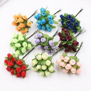 Marchwind 12Pcs lot Silk Artificial Flowers Mini Rose Bouquet Wedding Home Decoration Craft Card Gift DIY Wreath Scrapbooking High Quality