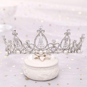 FORSEVEN Schmuck Brautkrone LUXUXzircon Crown Handgemachte Glänzend Tiaras Jäten Haarreif Haarschmuck Zubehör JL