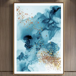 Blue Golden Ink Wash Painting Nordic Poster Print Abstract Wall Art Oil Painting Scandinavian Picture for Living Room Modern Home Decor