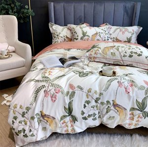 Modern conjunto de cama adolescente, rainha do rei completa 60 anos de algodão do vintage pássaro planta verde tampa da folha de cama fronha edredão dupla têxteis lar