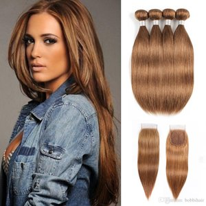 #30 Golden Brown Human Hair Bundles With Closure Peruvian Indian straight Hair Extensions 16-24 Inch 3 or 4 Bundles With 4x4 Lace Closure