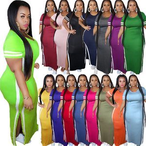 Striped Solid Color Womens Dresses Summer High Split Casual Womens Designer Dresses Slim Short Sleeve Long Maxi Dresses Plus Size 16Colors