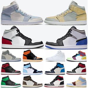 Новые 1S мужские ботинки баскетбола Jumpman 1 High OG Mid свет дым серый черный гриб Royal носком UNC Патентные женщин спортивные кроссовки