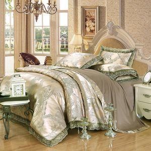 Luxo Jacquard Bedding Set Rei Queen Size 4pcs Lençois Silk Cotton Duvet Cover Lace Satin Folha de cama Set Fronhas
