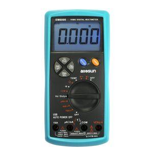 Multímetro digital Verdadero RMS Fusible dual LCD Auto AC DC Voltímetro Ohm Amp Temp Tester All Sun modelo EM6000