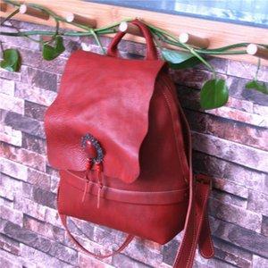 ABER Урожай Природа Первый слой кожи коровы Bagpack женщин сумка 2020 нового высокого качества большой емкости Рюкзак Дорожная сумка Магазин теперь сохранить большой