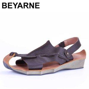 BEYARNE Yaz Yeni hakiki deri Retro eğlence kadın sandaletleri, sığır derisi el yapımı pamuk ve sanatsal sandalet