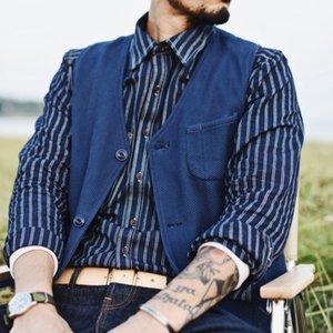 SauceZhan para hombre Chalecos Chalecos Chaleco Sashiko planta de teñido para hombre del chaleco de la vendimia de los hombres los hombres traje de chaleco