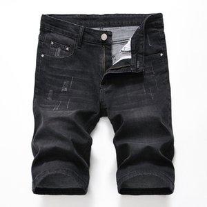 2020 Summer New Men's Ripped Short Biker Jeans Fashion Black Gray Denim Shorts Male Brand Clothes