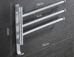 2020 hot sale Non punching space aluminum towel rack can rotate multi pole bathroom towel bar hardware pendant shelf TR05
