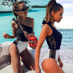 Sexy One Piece Swimsuit Women 2019 Summer Beachwear Lace One Shoulder Swimwear Bathing Suits Bodysuit Monokini Swimsuit T200708